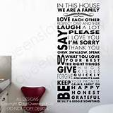 House Rules Wall Quote Family Inspirational Art Decal Vinyl Sticker ...