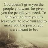 GOD doesn't give you the people you want. He gives you the people ...