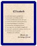 Friendship Poems -- The letters of a first name are used to compose an ...