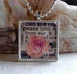 PEACE - Inspirational Words Christian Glass Pendant Necklace ...
