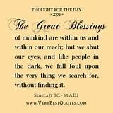 Thought For The Day, The great blessings of mankind are within us and ...