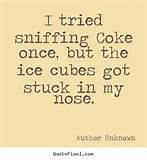 Quotes about friendship - I tried sniffing coke once, but the ice ...