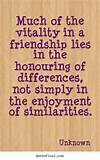 Quote about friendship - Much of the vitality in a friendship lies in ...